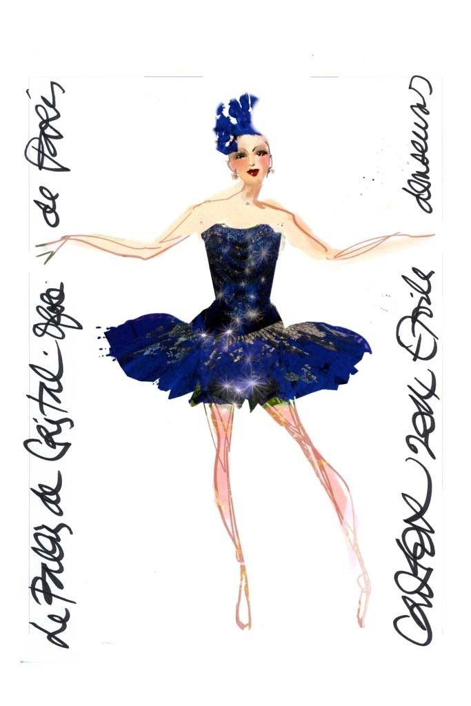 """#Christian Lacroix sketch for costumes for """"Le Palais de Cristal"""" ballet at the Paris National Opera."""