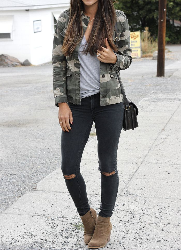 Seeking Sunshine // A camo or olive jacket is a must have for fall! This one is on sale for $25!
