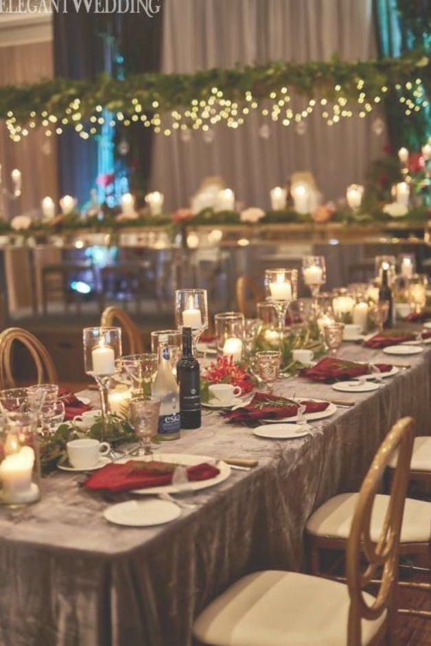 Red And Green Wedding Theme Candlelit Wedding Table Setting Wedding Candle Ideas Christmas W Candlelit Wedding Green Themed Wedding Christmas Wedding Themes