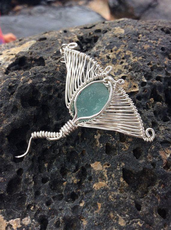 Stingray pendant, aqua blue seaglass pendant, nautical pendant, wire wrapped fish, seaglass jewelry, hawaiian seaglass