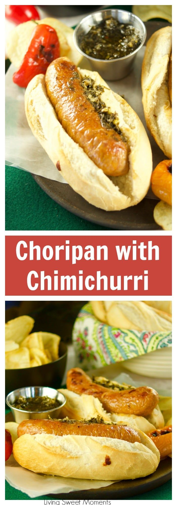 Juicy and delicious grilled Choripan, aka Chorizo Hot Dogs served with chimichurri sauce. The perfect food for parties and celebrations. #PhilipsGameDay #ad  via @Livingsmoments