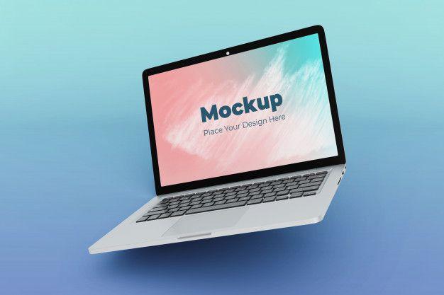 Modern Clean Floating Laptop Mockup Design Template Mockup Design Mockup Laptop