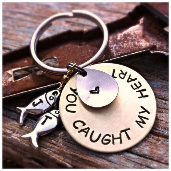 Fisherman gift. Grooms gift, you caught my heart keychain on Etsy, $29.00