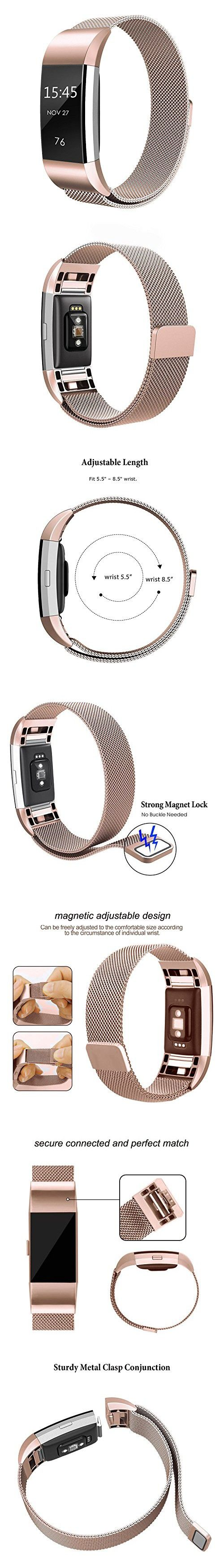 Abeky Milanese Band Fitbit Charge 2 Replacement Bands Charge 2 HR Metal bands Smart Watch AccessoriesBraceletStrapLoop Wristband Stainless Steel with Magnetic Clasp Small Size Apple Rose Gold