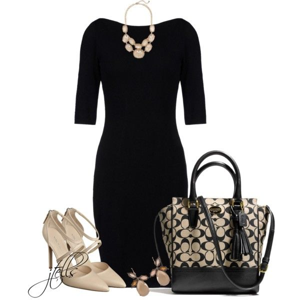 A fashion look from November 2013 featuring black boat neck dress, champagne shoes and coach purses. Browse and shop related looks.