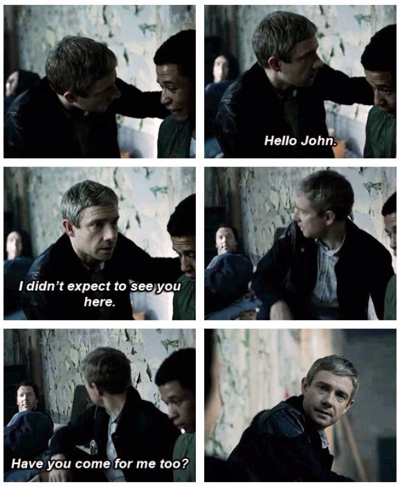 I would give my right arm just to know what happened between this moment and Sherlock breaking the door down outside.