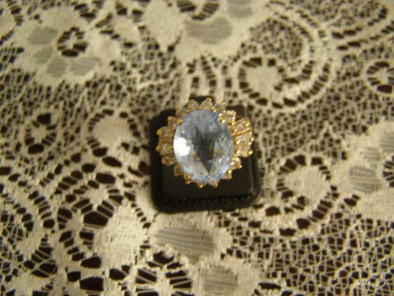 Blue Topaz white sapphires  sterling silver 925 by Mpoulitsa