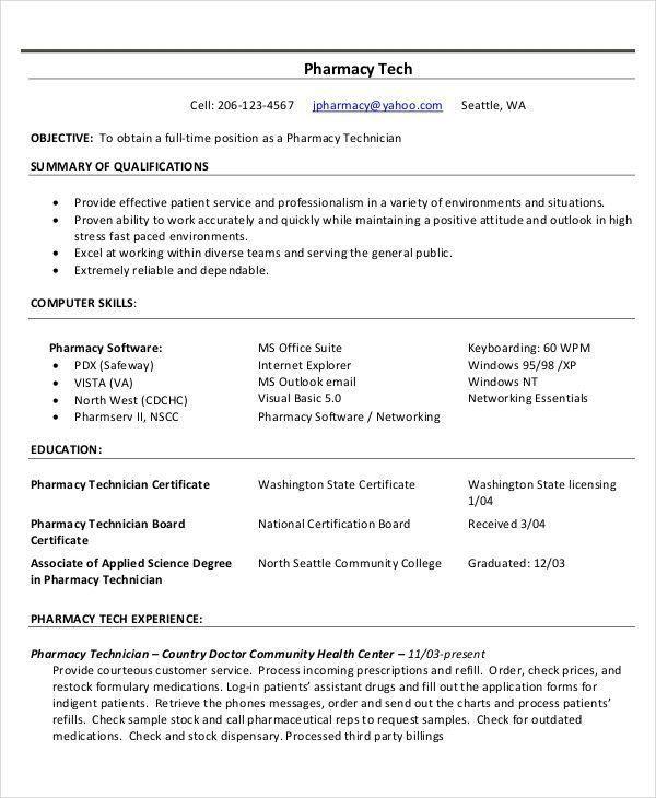 Technician Resume Templates Wunderbar Pharmacy Technician Resume