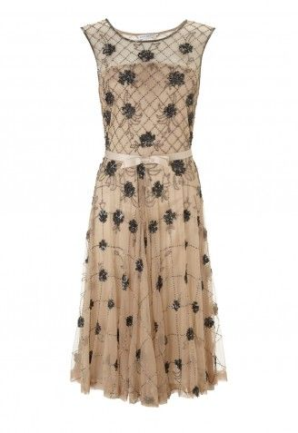 Gina Bacconi Floral Beaded Full Skirt Dress in Champagne