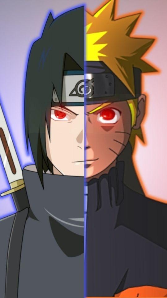 Artwork Anime Sasuke Uchiha Naruto Uzumaki Face Off 540x960