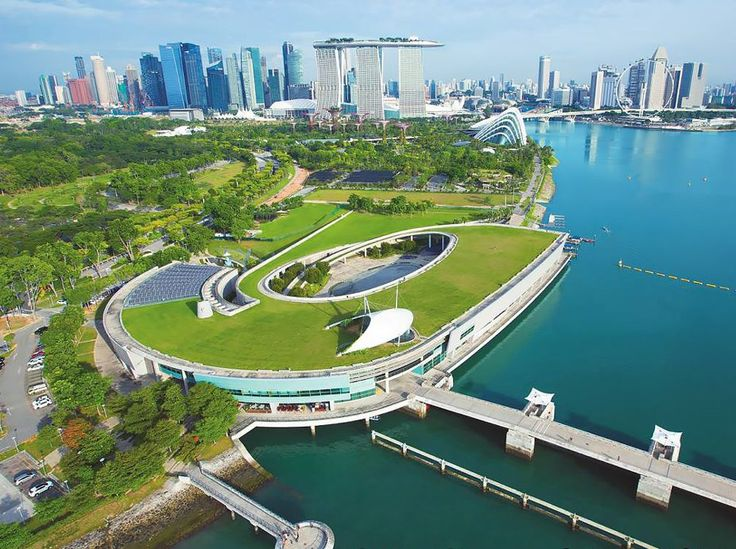 Aerial of the Marina Barrage; Photo Courtesy of PUB, Singapore's National Water Agency