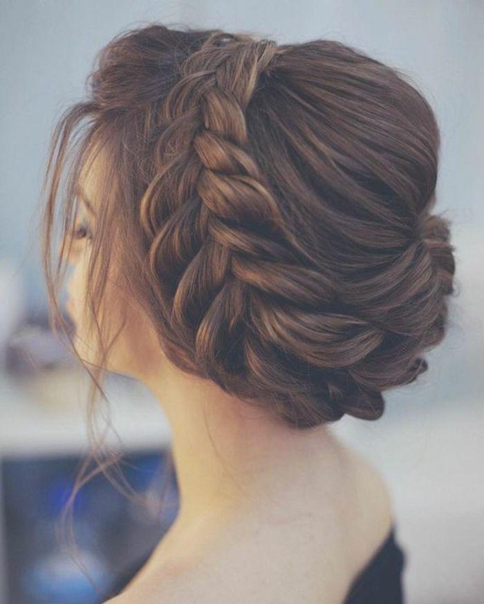 Wreath braid earrings, wedding hairstyle idea, rebellious curls around the neck