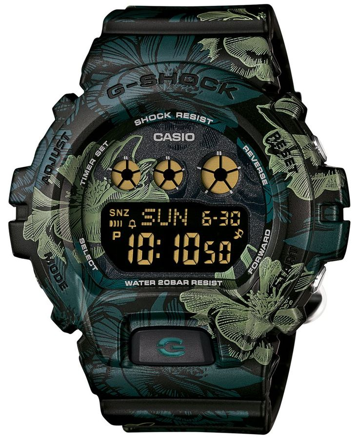 G-Shock Women's Digital Green Floral Resin Strap Watch 49x46mm GMDS6900F-1