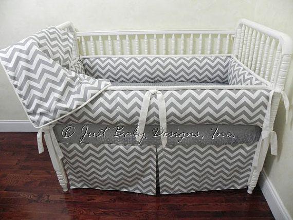 Custom Baby Bedding Set Kenzie  Gray Chevron by BabyBeddingbyJBD, $239.00