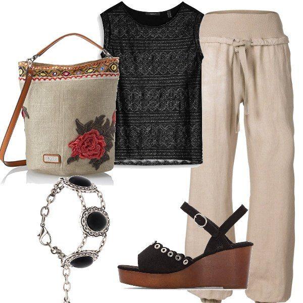 c4c28b455bbf Rose e lino  outfit donna Etnico per tutti i giorni