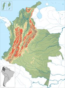 The Colombia coffee belt - Source:  Instituto Geografico Agustin Codazzi, Wikimedia Commons.
