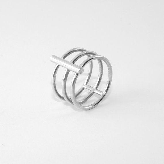 Perpendicular Ring Wide Ring Silver Ring Large Ring Etsy Ring Ring Anillos De Plata Anillos Midi