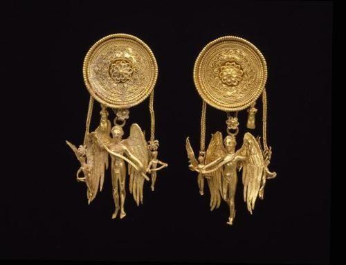Gold Eros earrings  Date: late 4th century B.C.  Dimensions: Height: 21/8 in. (5.398cm) Diameter: 7/8 in. (2.223cm)