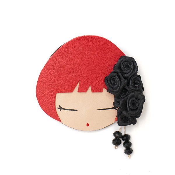 borche flores rojo y negro
