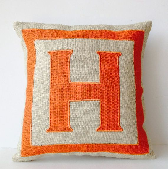 Personalized Monogram throw pillow Burlap pillows by AmoreBeaute