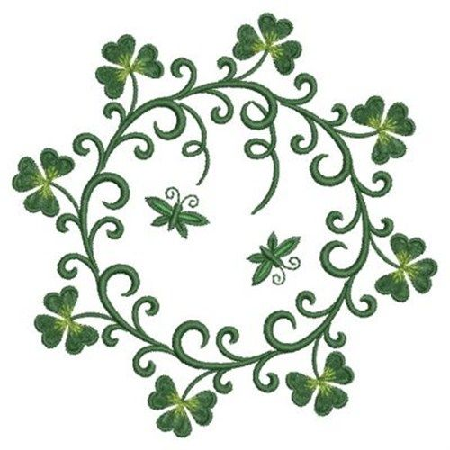 $3.00 for 4 X 4 Shamrock Harp Circle embroidery design