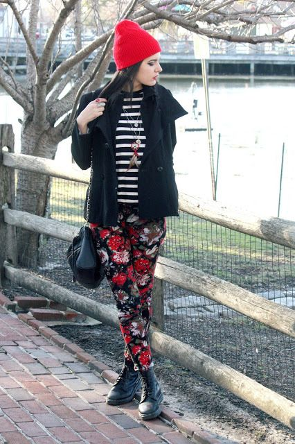 Pairing a black pea coat with black floral skinny pants is a comfortable option for running errands in the city. Why not add black leather boots to the mix for a more relaxed feel?   Shop this look on Lookastic: https://lookastic.com/women/looks/pea-coat-crew-neck-sweater-skinny-pants/15999   — Red Beanie  — Black Pea Coat  — Black Floral Skinny Pants  — Black and White Horizontal Striped Crew-neck Sweater  — Black Leather Crossbody Bag  — Black Leather Boots