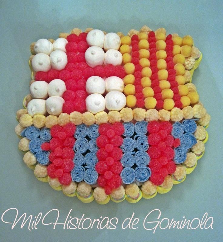 Tarta chuches barca, gominolas, niños, cumpleaños, comuniones