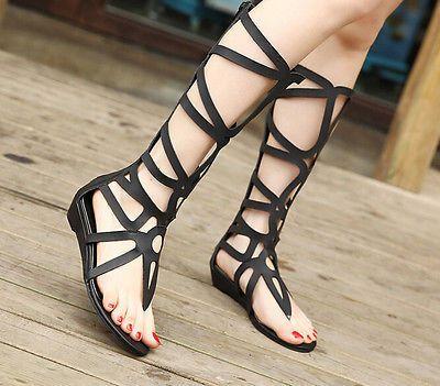 Atractiva de las nuevas mujeres de charol sandalias de gladiador romano  botas hasta la rodilla en