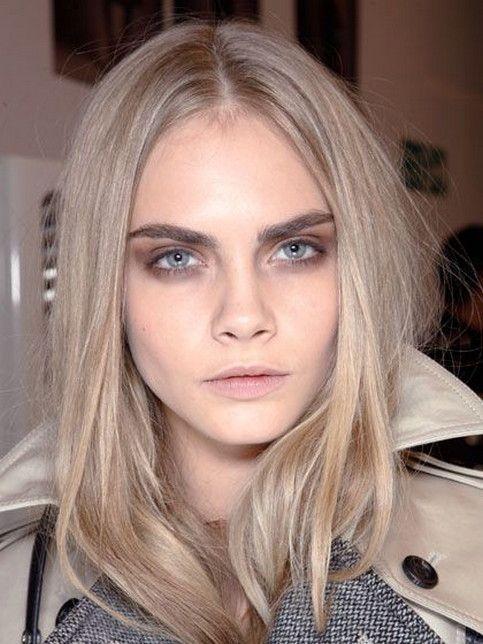 15 Smokey Eye Makeup For Blue Eyes And Blonde Hair Ideas | Beige hair. Cara delevingne hair. Cara delevingne hair color