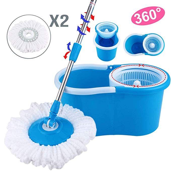 360° Easy Clean Floor Mop Bucket 2 Heads Microfiber Spin Rotating Head Purple