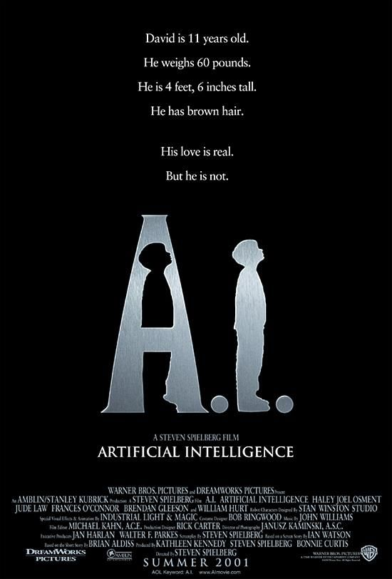 """A.I. Artificial Intelligence"" (2001). COUNTRY: United States. DIRECTOR: Steven Spielberg. SCREENWRITER: Steven Spielberg & Ian Watson (Story: Brian Aldiss). CAST: Haley Joel Osment, Jude Law, Frances O'Connor, Sam Robards, William Hurt, Brendan Gleeson, Jake Thomas, Ken Leung, Clark Gregg, Enrico Colantoni, Ashley Scott, Paula Malcomson"