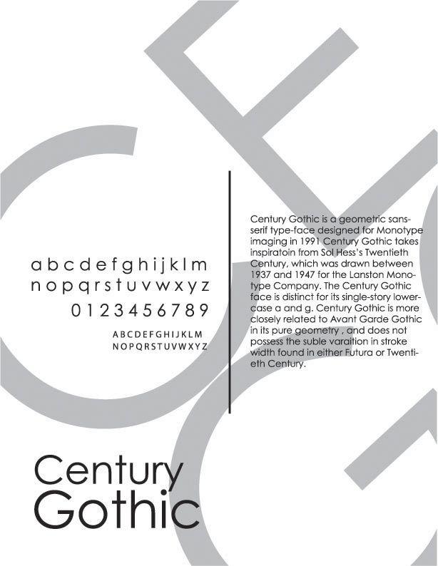Century Gothic Typeface Poster
