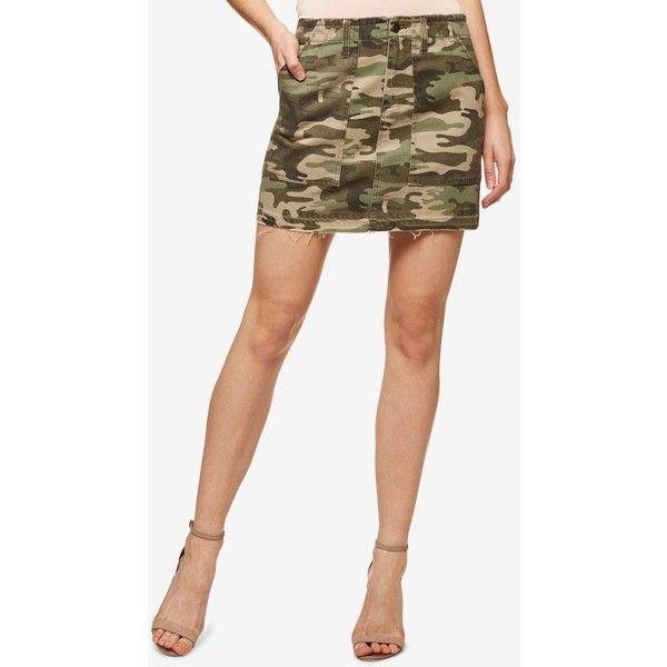 Sanctuary Camo-Print Cotton Mini Skirt ($89) ❤ liked on Polyvore featuring skirts, mini skirts, safari camo, camo skirt, white cotton skirt, white mini skirt, camo print skirt and mini skirt