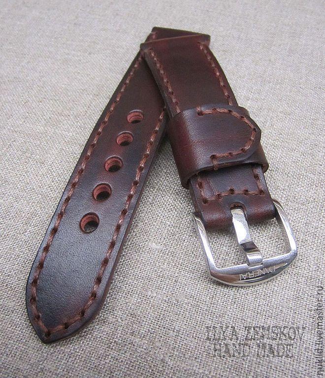 Купить Кожаный ремешок для часов Panerai - бордовый, часы наручные, часы, ремешок для часов