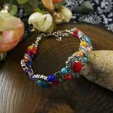 HOT Free shipping New Tibet silver multicolor jade turquoise bead bracelet S93D
