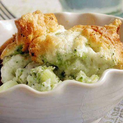 Lemon-scented broccoli souffle