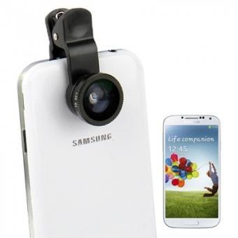 Universal 3 en 1 (180 grados Ojo de Pez + 0.4x Lente Gran Angular + Lente Macro) Foto lente de la cámara para Samsung Galaxy S 6 S 5 iPhone 6 6 Plus (Negro)