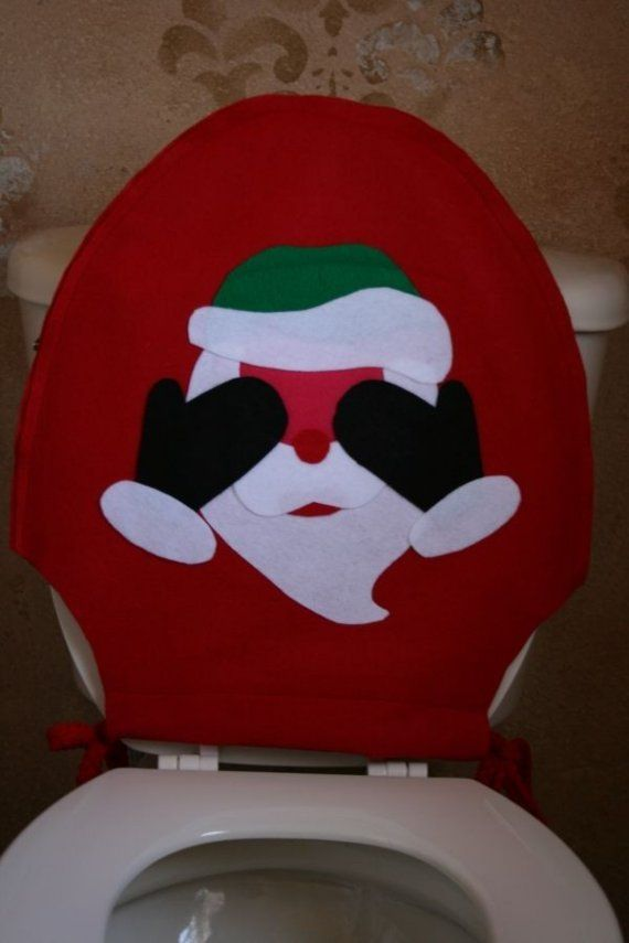 Christmas Toilet Seat Cover  Blushing Santa by merryNbright
