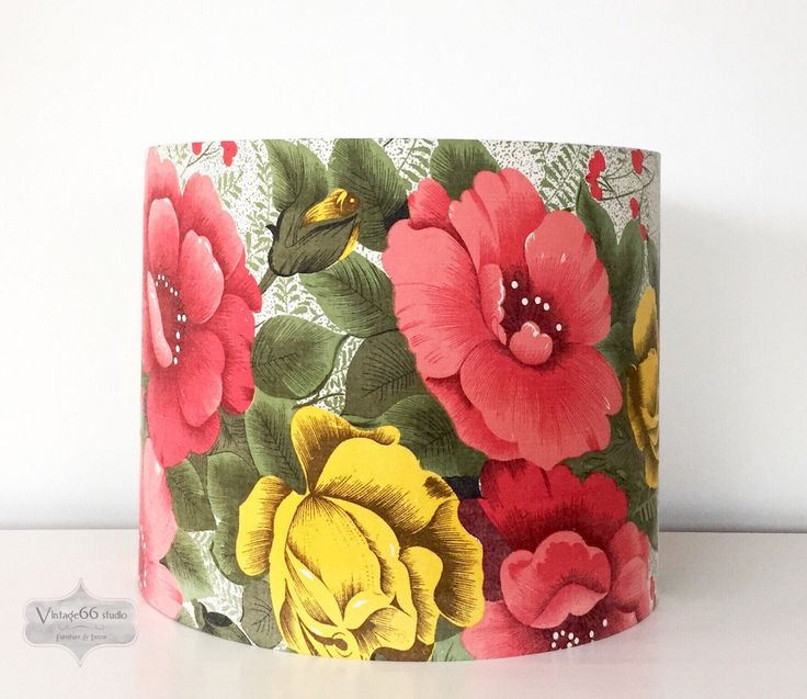 Vintage 1950s Roses Drum Lampshade, recycled curtain, yellow and red/pink roses, handmade, faded grandeur, table lamp, standard lamp shade by Vintage66studio on Etsy