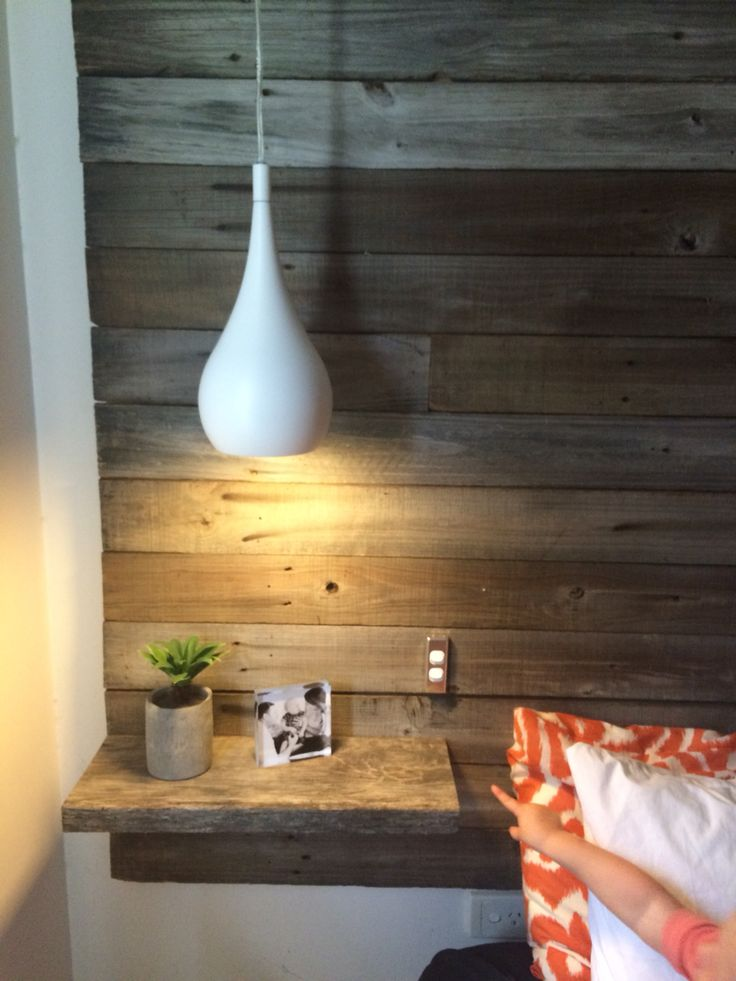 DIY homemade recycled timber headboard with floating bedsides & bedside pendant lights