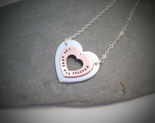 """Love you Forever Necklace from the """"Love you Forever"""" range. Gorgeous mixed metal pendant."""