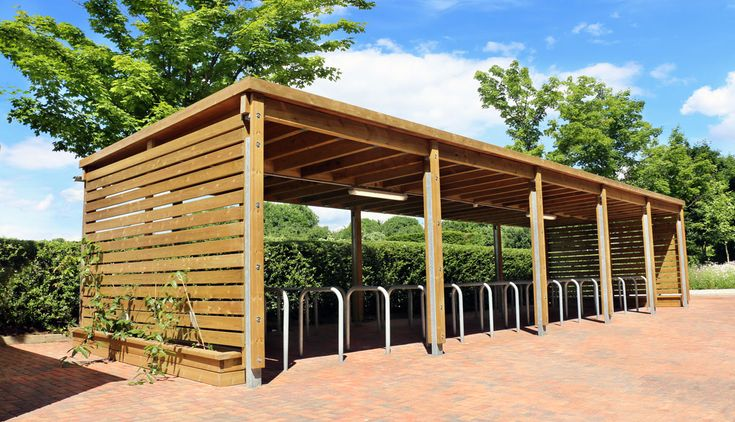 Sedum Roof Timber Frame Cycle Shelter - The Bower, Stockley Park