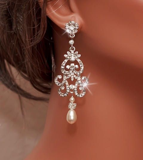 NICOLA - Handmade Bridal Rhinestone Earrings with Swarovski Cream Pearl by www.OliniBridal.com in USA. Pick Your Finish and Pearl Color. Free Shipping!