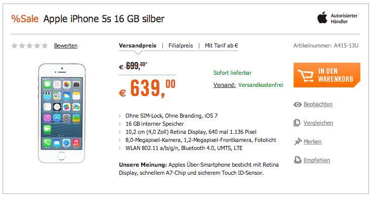 iPhone 5s ohne Vertrag billiger ohne Simlock / Netlock - http://apfeleimer.de/2014/01/iphone-5s-ohne-vertrag-billiger-ohne-simlock-netlock - Wer sich gerade entschließen möchte, ein iPhone 5s ohne Vertrag zu kaufen, kann beim aktuellen Weekend Deal von Cyberport vorbeischauen. Bei Cyberport gibt es dieses Wochenende das Apple iPhone 5s gegenüber dem Apple Store Preis 60 Euro billiger. Das iPhone 5s Angebot bezieht sich auf das iPhone ...