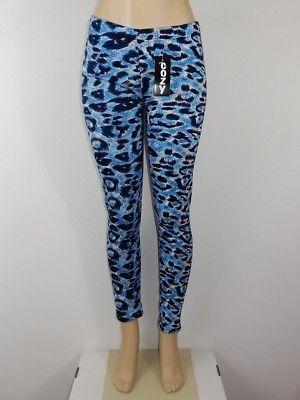 Just Cozy Size 12-20 Mink Fur Lined Low Rise Blue Cheetah Leggings Spandex Pants