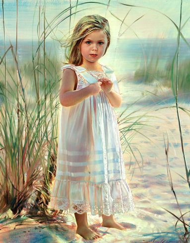 Robert Schoeller Painting: Little Girl at the Beach Portrait   Art