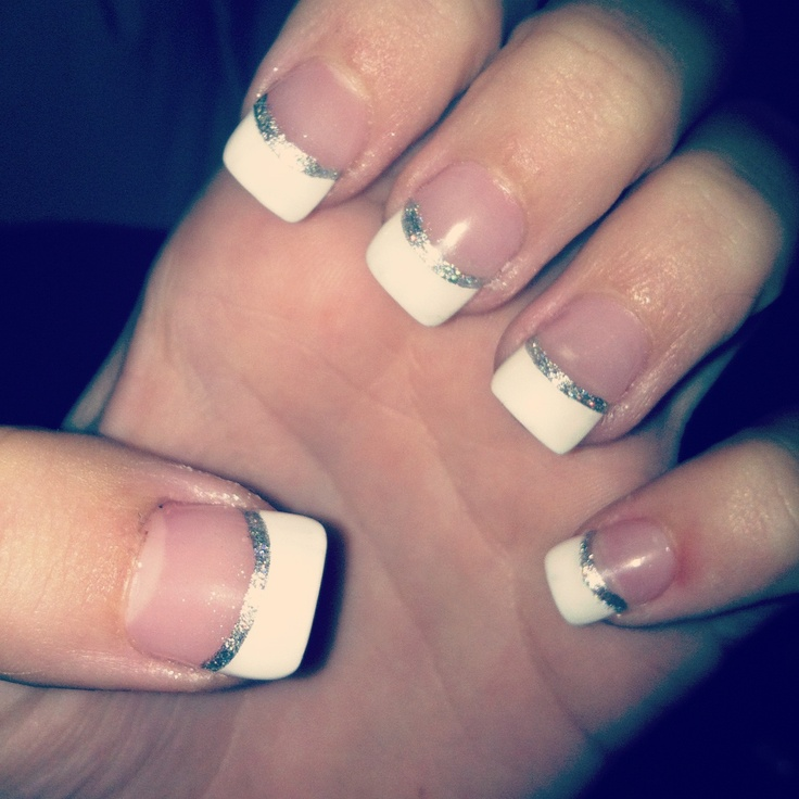 Simple Homecoming nails with glitter.