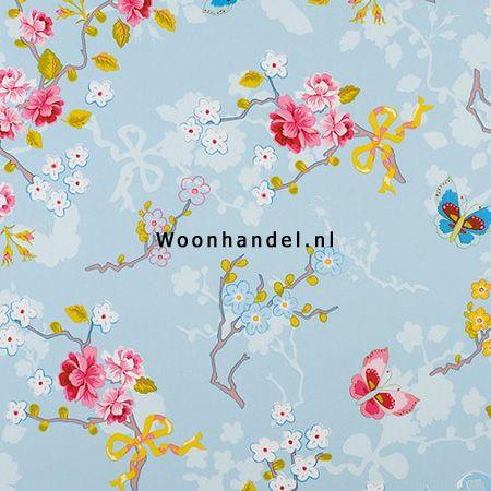 386031 Chinese Rose Eijffinger Behang Pip Vlinder Bloem Blauw - Woonhandel