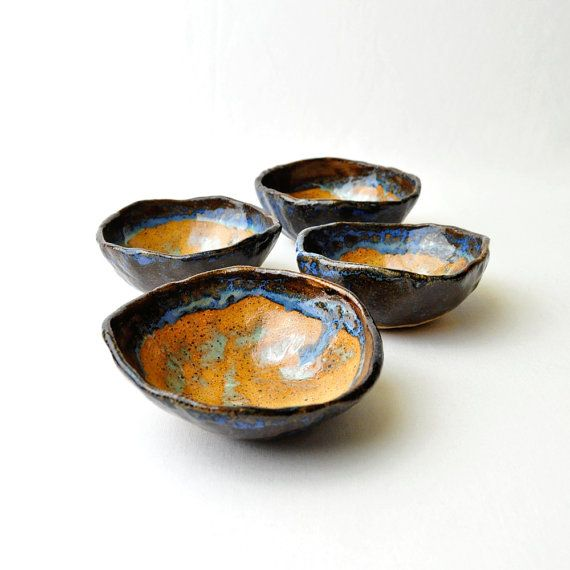 blue green amber ceramic tea bowls by glazedover