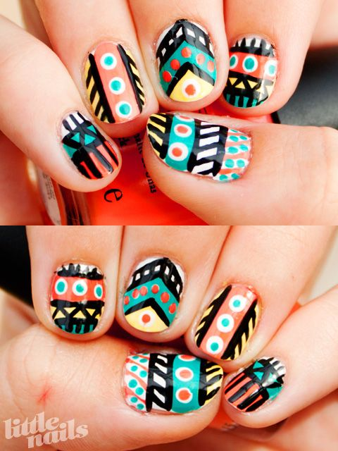 : Nails Art, Nails Design, Cute Nails, Colors Nails, Tribal Nails, Nails Paintings, Tribal Prints Nails, Aztec Nails, Tribal Patterns